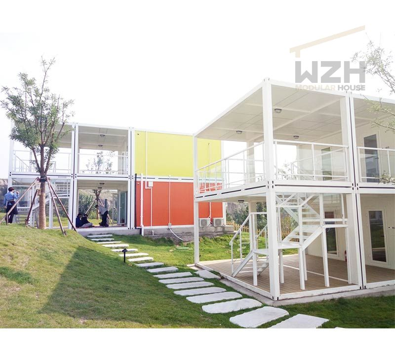 Low cost interior design office solar power prefab flat pack container home house
